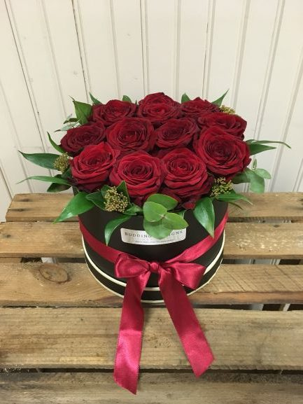 63f47ab2deeb Red Rose Valentines Hat Box - Budding Designs Flower Studio